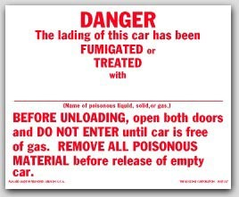 Danger This Car Has Been Fumigated Self Adhesive Vinyl Placards 25/pkg