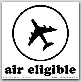 """4x4"""" Air Eligible Vinyl Labels White and Black 500/rl"""