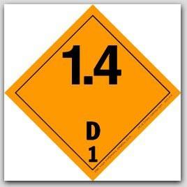 "4x4"" Class 1.4 Explosives Paper Labels D1 500/rl"