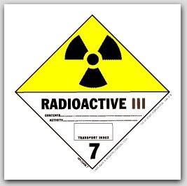"4x4"" Class 7 Radioactive 3 Paper Labels 500/rl"