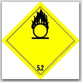 """4x4"""" Class 5 Oxidizer and Organic Peroxide Paper Labels 500/rl"""