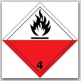 """4x4"""" Class 4 Flammable Solids Paper Labels 500/rl"""