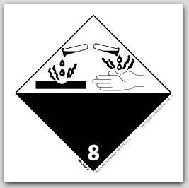 "4x4"" Class 8 Corrosive Vinyl Labels 500/rl"