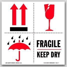 "4x4"" International Labels Fragile Keep Dry 500/rl"