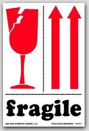 "3x4"" International Labels Fragile Arrow Up 500/rl"