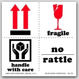 """4x4"""" International Labels Fragile No Rattle 500/rl"""