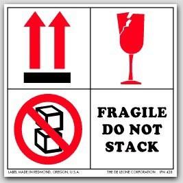 """4x4"""" International Labels Fragile Do Not Stack 500/rl"""