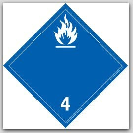 Flammable Solids Class 4 Self Adhesive Vinyl Placards 25/pkg