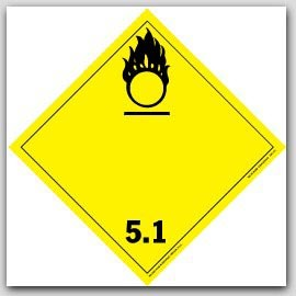 Oxidizer and Organic Peroxide Class 5 Polycoated Tagboard Placards 25/pkg
