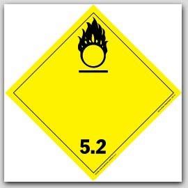 Oxidizer and Organic Peroxide Class 5 Self Adhesive Vinyl Placards 25/pkg