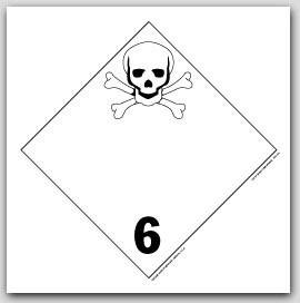 Poisonous Infectious Substances Class 6 Self Adhesive Vinyl Placards 25/pkg