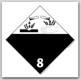Corrosive Class 8 Self Adhesive Vinyl Placards 25/pkg