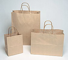 16x6x19-1/4 Brown Paper Shopping Bags - 200/cs