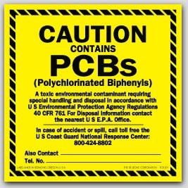 """6x6"""" Caution Contains PCBs Labels sheeted 50/pkg (Meets military standard.)"""