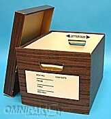 15x12x10-RF3WoodgrainSelf-LockingRecordFileBoxwithLidTripleEnds,DoubleSidesand