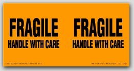 """3x6"""" Handle with Care Fragile Labels 250/rl"""
