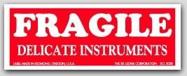 """1-1/2x4"""" Fragile Delicate Instruments Labels 500/rl"""