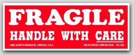 "1-1/2x4"" Handle with Care Fragile Labels 500/rl"