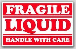 "2-1/2x4"" Liquid Fragile Labels 500/rl"