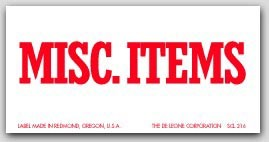 """2x4"""" Misc Items Shipping Labels 500/rl"""