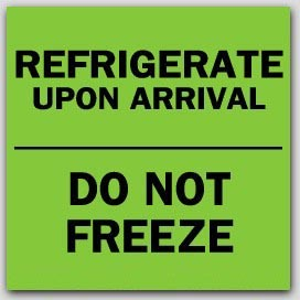 """3x3"""" Refrigerate Do Not Freeze Labels 500/rl"""