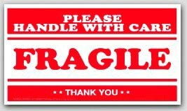 "2-1/2x4"" Handle with Care Fragile Labels 500/rl"