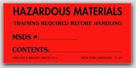 "2x4-1/2"" Hazardous Materials Training Required Labels 500/rl"