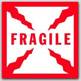 """8x8"""" Fragile Labels sheeted 100/pkg (Meets military standard.)"""