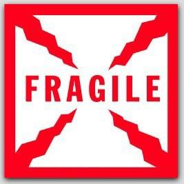 """4x4"""" Fragile Labels 500/rl"""