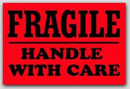 """4x6"""" Handle with Care Fragile Labels 500/rl"""