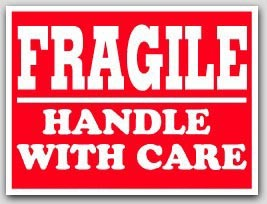 """3x4"""" Handle with Care Fragile Labels 500/rl"""