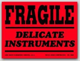 """3x4"""" Fragile Delicate Instruments Labels 500/rl"""