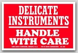 """3x4-1/2"""" Fragile Delicate Instruments Labels 500/rl"""