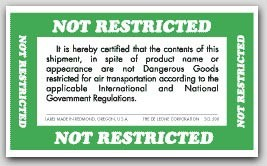 "3x5"" Not Restricted Shipping Labels 500/rl"