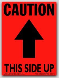 """3x4"""" Caution This Side Up Arrow Labels 500/rl"""