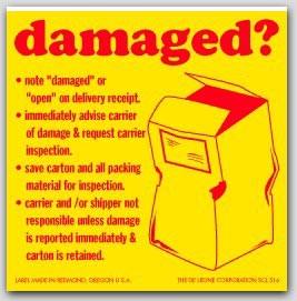 "4x4"" Damaged Shipping Labels 500/rl"