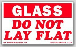 """3x5"""" Do Not Lay Flat Glass Labels 500/rl"""