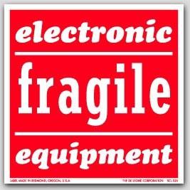 "4x4"" Electronic Equipment Fragile Labels 500/rl"
