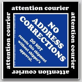 "4x4"" No Address Corrections Shipping Labels 500/rl"