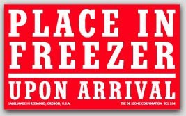 """3x5"""" Place In Freezer Upon Arrival Labels 500/rl"""