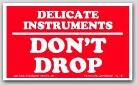 "3x5"" Delicate Instruments Don't Drop Labels 500/rl"