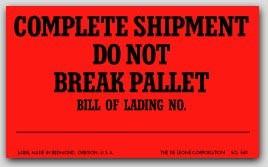 "3x5"" Do Not Break Pallet Shipping Labels 500/rl"