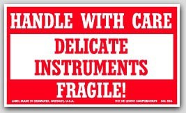 """3x5"""" Handle with Care Delicate Instruments Labels 500/rl"""