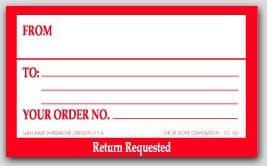 "5x3"" Return Requested Shipping Labels 500/rl"