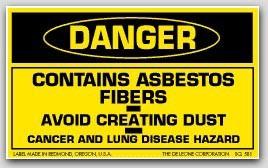 "3x5"" Danger Contains Asbestos Fibers Labels 500/rl (Meets military standard.)"