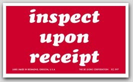 "3x5"" Inspect Upon Receipt Shipping Labels 500/rl"