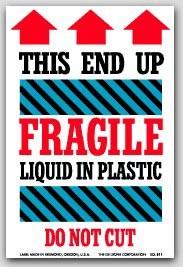 """4x6"""" Liquid In Plastic Fragile Labels 500/rl"""