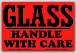 "3x4"" Handle with Care Glass Labels 500/rl"