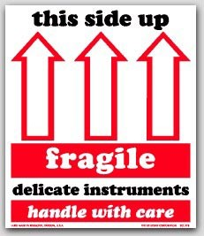 "4x4-1/2"" Fragile This Side Up Arrow Labels 500/rl"
