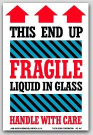 "4x6"" Fragile This Side Up Arrow Labels 500/rl"
